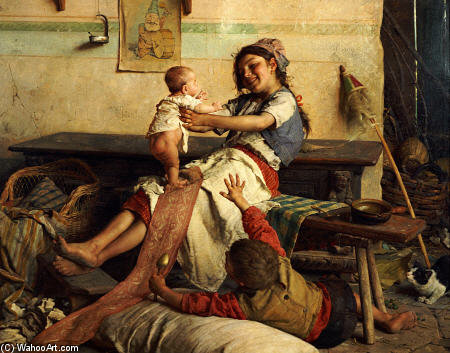 Playing With Baby by Gaetano Chierici  (order Fine Art Hand Painted Oil Painting Gaetano Chierici)