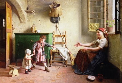 Order Oil Painting The First Steps by Gaetano Chierici (1838-1920, Italy) | ArtsDot.com | Order Hand Painted Oil Painting The First Steps by Gaetano Chierici (1838-1920, Italy) | ArtsDot.com
