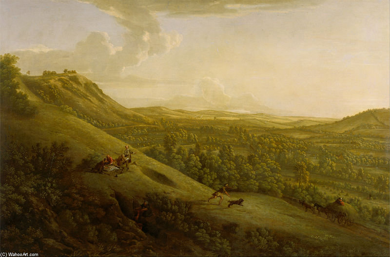 Box Hill, Surrey, With Dorking In The Distance by George Lambert (1873-1930, Russia)