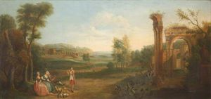 George Lambert - River Landscape With Ruins And Elegant Figures