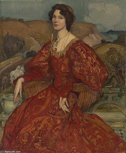 Sybil Waller In A Red And Gold Dress by George Lambert (1873-1930, Russia)