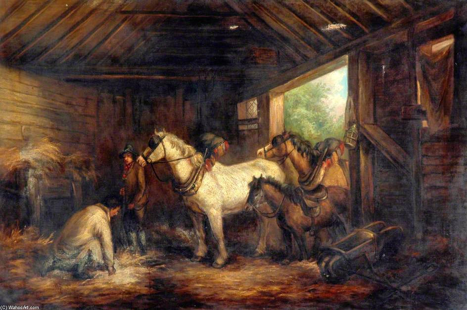 Order Oil Painting : Interior Of A Stable by George Morland (1763-1804, United Kingdom) | ArtsDot.com