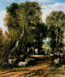 George Vicat Cole - Pastoral Scene With Shee