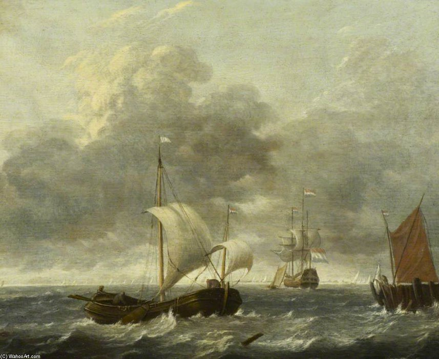 A Fishing Pink Running Past A Jetty by Gerrit Van Battem (1636-1684, Netherlands) | Museum Quality Reproductions | ArtsDot.com