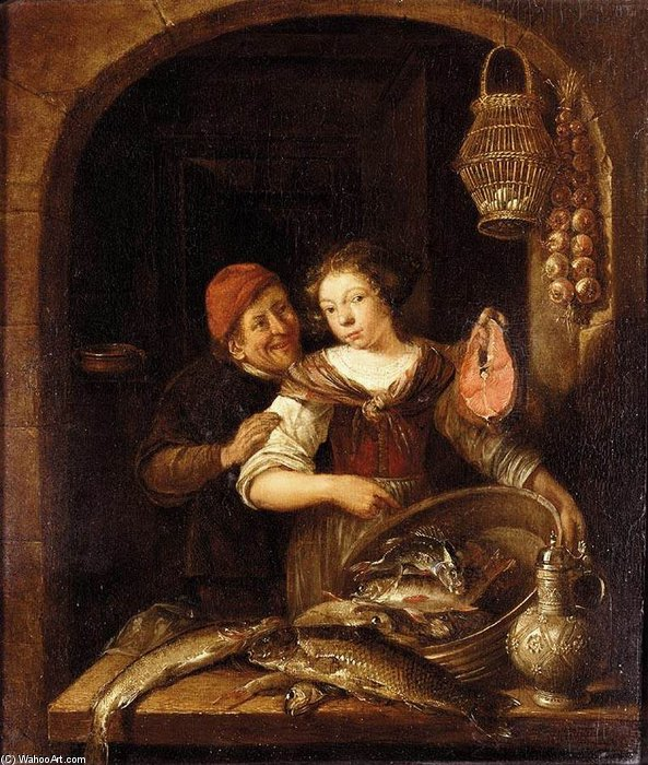 Domestic Scene by Gerrit Van Battem (1636-1684, Netherlands)