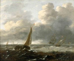 Gerrit Van Battem - Shipping In A Stormy Sea