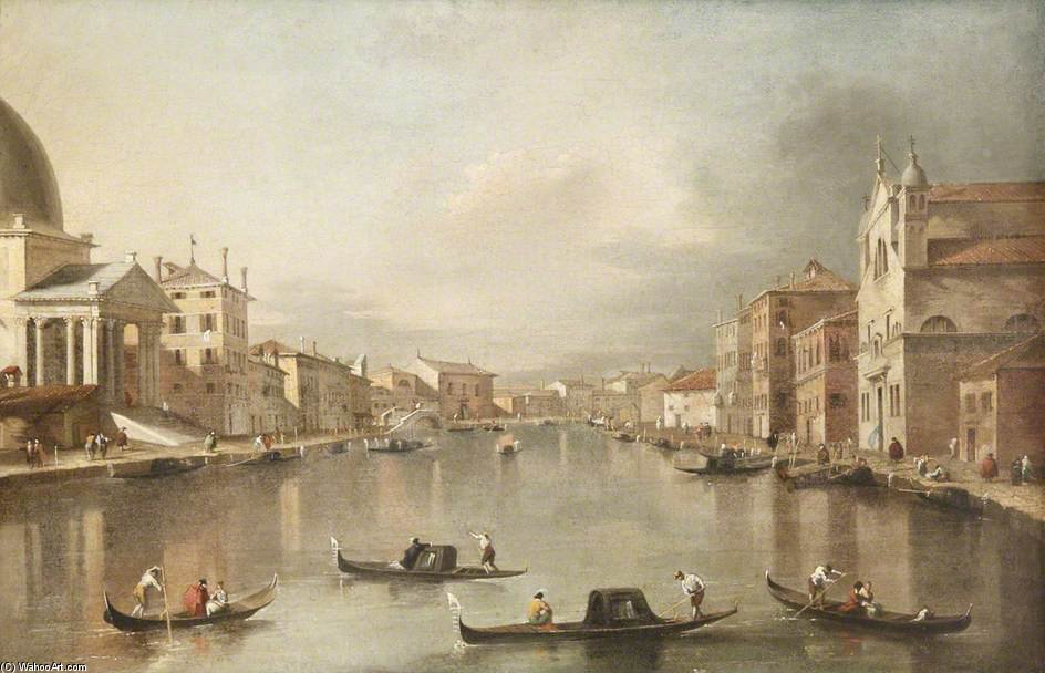 Venetian Canal With Gondolas In The Foreground by Giacomo Piazzetta (1640-1705, Italy) | Museum Art Reproductions | ArtsDot.com