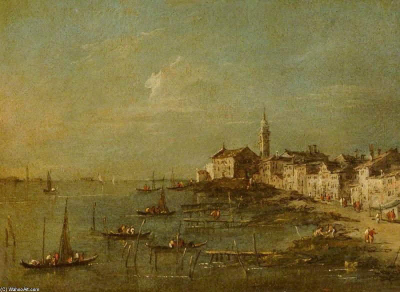 View Of The Giudecca And The Church Of Santa Marta, Venice by Giacomo Piazzetta (1640-1705, Italy)