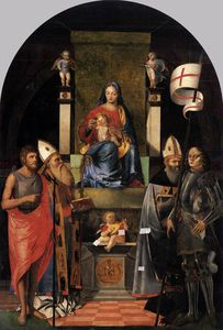 Giovanni Agostino Da Lodi - Virgin And Child Enthroned With Saints