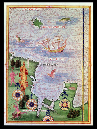 Map Of Australia And Magellan Island From 'cosmographie Universelle' by Guillaume Le Testu (1512-1573, France)