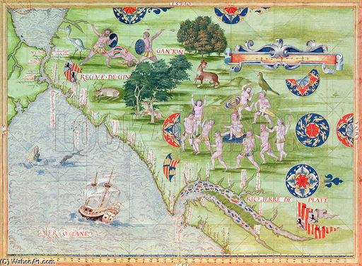Map Of Florida And The Caribbean by Guillaume Le Testu (1512-1573, France) | ArtsDot.com