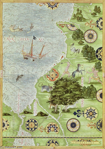 Map Of The Magellan Straits by Guillaume Le Testu (1512-1573, France)