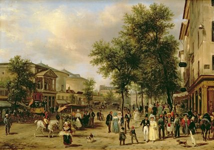View Of Boulevard Montmartre, Paris,, 1830 by Guiseppe Canella (1788-1847, Italy) | ArtsDot.com