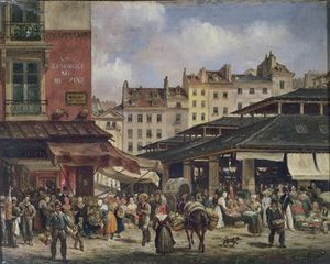 Guiseppe Canella - View Of The Market At Les Halles, C.