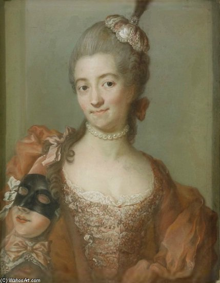 Portrait Of Eva Helena Ribbing by Gustaf Lundberg (1695-1786, Sweden)