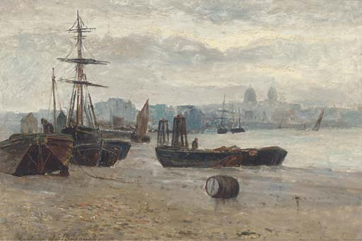 Beached Ships With A Townscape In The Distance by Gustave De Breanski (1856-1898, United Kingdom)