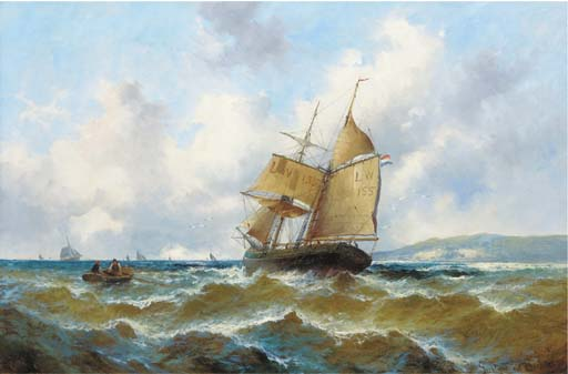 Off The French Coast by Gustave De Breanski (1856-1898, United Kingdom)