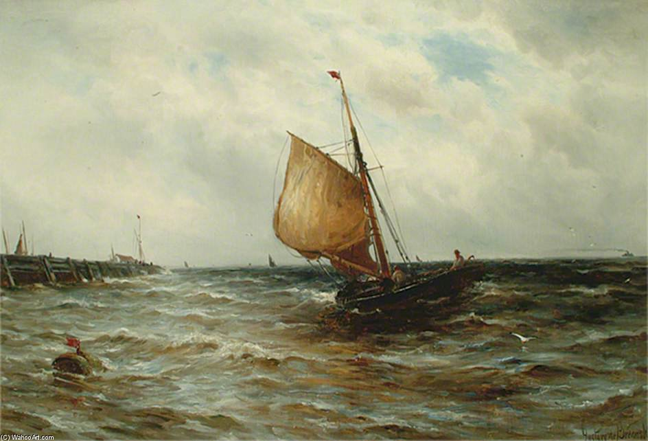 Seascape With A Fishing Boat by Gustave De Breanski (1856-1898, United Kingdom)