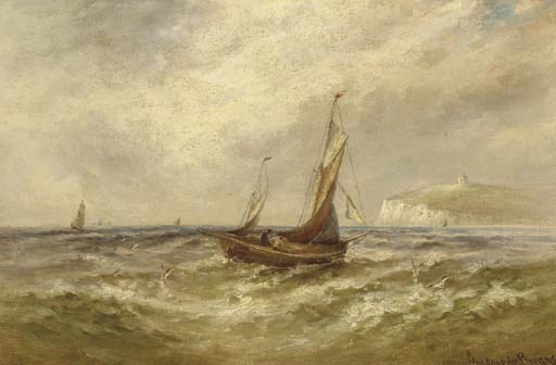 The English Channel With Sailboats Offshore by Gustave De Breanski (1856-1898, United Kingdom)