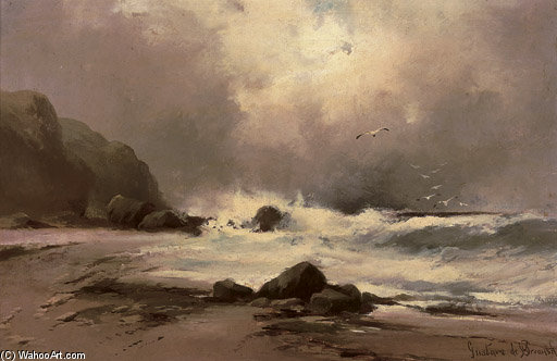 Waves Against A Beach by Gustave De Breanski (1856-1898, United Kingdom) | Museum Art Reproductions | ArtsDot.com