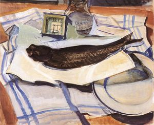 Gyula Derkovits - Still-life With Fish -