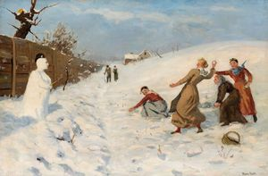 Hans Andreas Dahl - Snowball Fight And Snowman