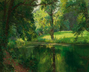 Henri Biva - A Quiet Stretch Of The River