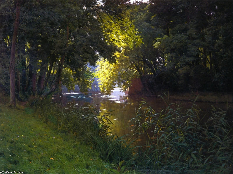 By The River by Henri Biva (1848-1929, France)
