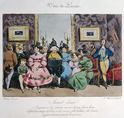 Humorous Depiction Of The Behaviour by Henri Bonaventure Monnier (1799-1877, France)