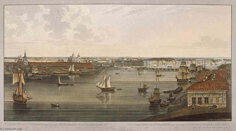 Spb Panoramic View Of Neva Downstream by John Augustus Atkinson (1775-1833, United Kingdom)