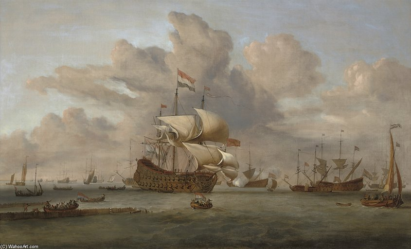 A Dutch Flagship Receiving A Salute As She Arrives At The Fleet Anchorage by John Christian Schetky (1778-1874, United Kingdom)