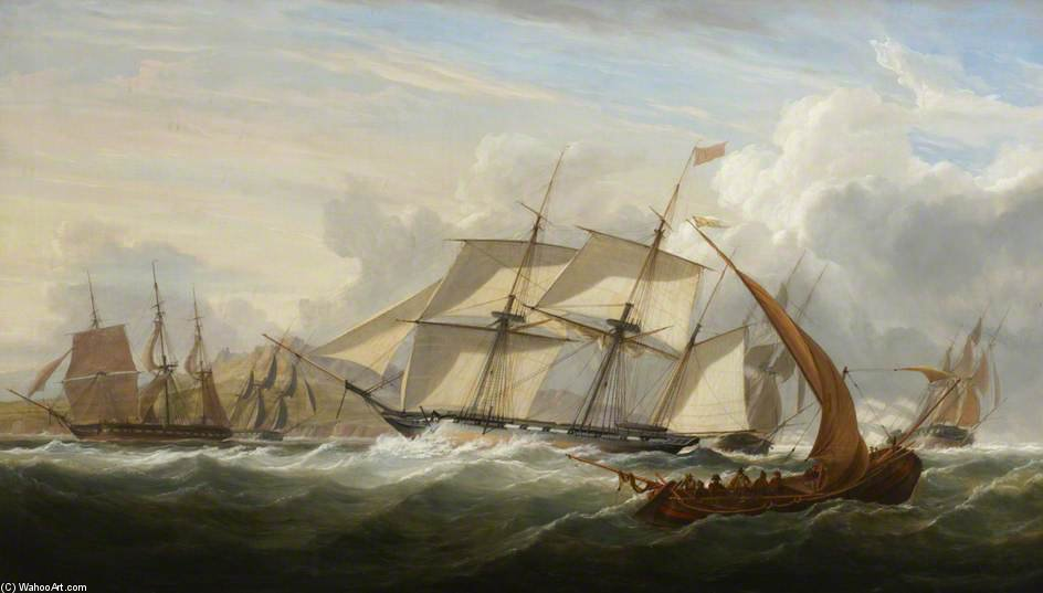 Order Painting Copy : Hms `columbine` And Other Vessels Off Lisbon by John Christian Schetky (1778-1874, United Kingdom) | ArtsDot.com