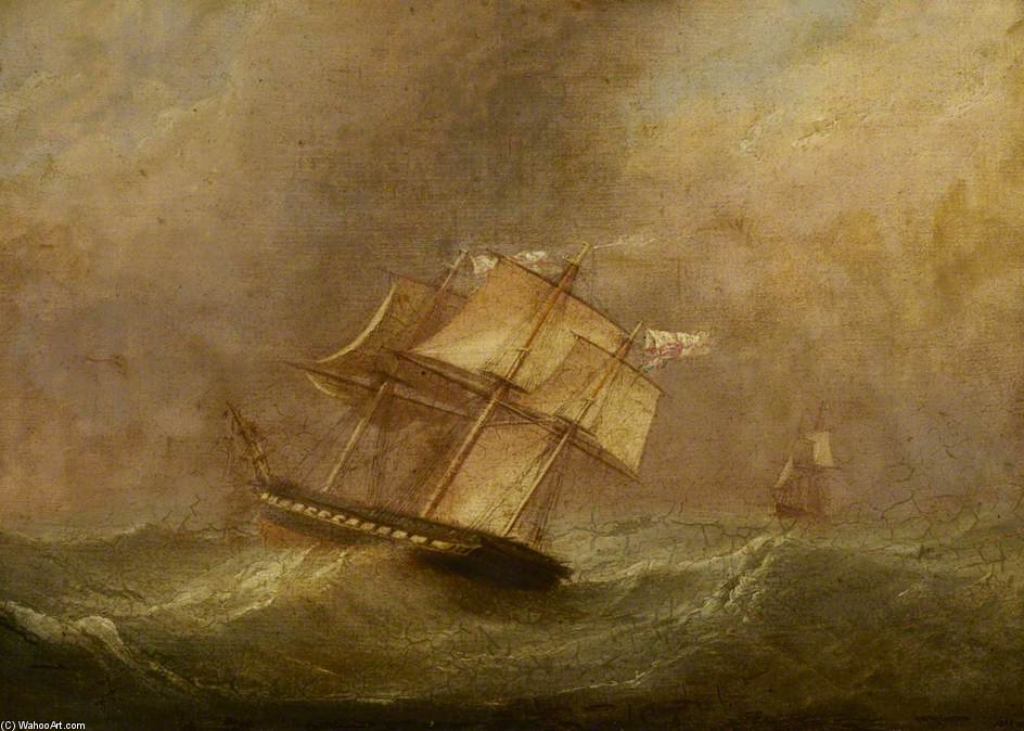 Hms 'pique' In A Gale During Her Return To England by John Christian Schetky (1778-1874, United Kingdom)