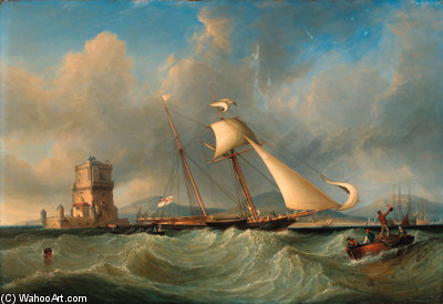 Lord Belfast's Yacht Emily Hove-to For Her Owner To Come Aboard, Off The Belem Tower, Lisbon by John Christian Schetky (1778-1874, United Kingdom)
