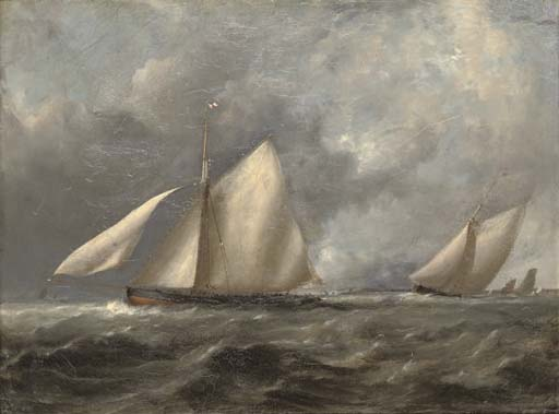 Royal Irish Yacht Club Cutters At The Turning Mark by John Christian Schetky (1778-1874, United Kingdom)