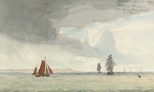 Shipping Off Lowestoft by John Christian Schetky (1778-1874, United Kingdom) | Art Reproduction | ArtsDot.com
