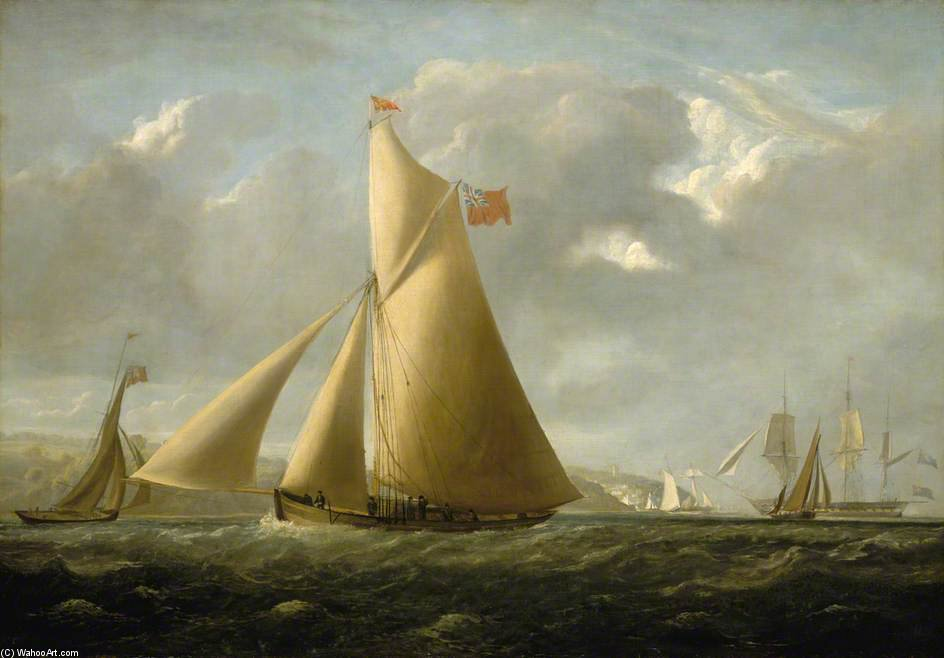 The Cutter Yacht 'Gazelle' off Cowes by John Christian Schetky (1778-1874, United Kingdom) | ArtsDot.com