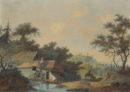 A Landscape With A Water Mill Creek Near by Joseph Augustus Knip (1777-1847, Netherlands)