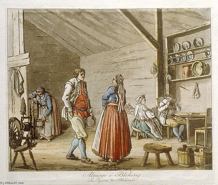 Country People In Blekinge, Sweden by Pehr Hillestrom (1732-1816, Sweden)