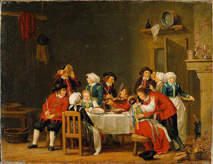 Table Society In A Peasant's Cottage by Pehr Hillestrom (1732-1816, Sweden)
