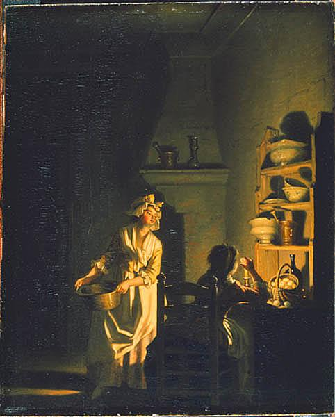 Testing Eggs. Interior Of A Kitchen by Pehr Hillestrom (1732-1816, Sweden)