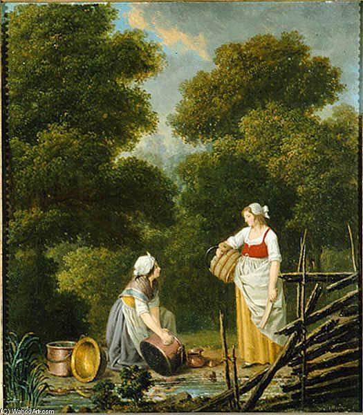 Two Maids In A Creek by Pehr Hillestrom (1732-1816, Sweden)