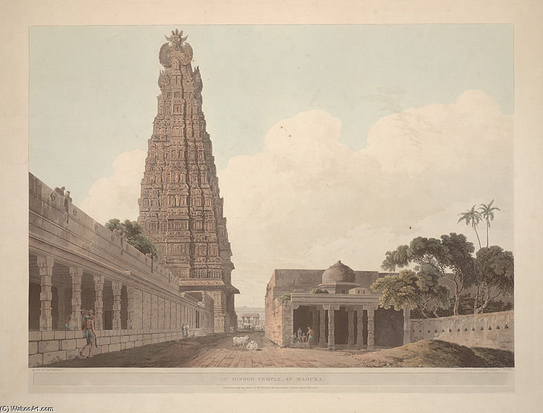 Order Oil Painting : An Hindoo Temple, At Madura by Thomas And William Daniell (1769-1837, United Kingdom) | ArtsDot.com