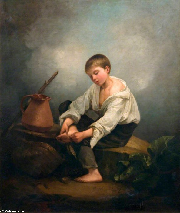 A Boy Extracting A Thorn From His Foot by Thomas Barker (1769-1847, United States)