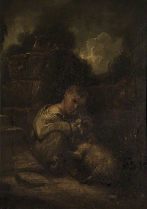 A Boy With A Lamb by Thomas Barker (1769-1847, United States)