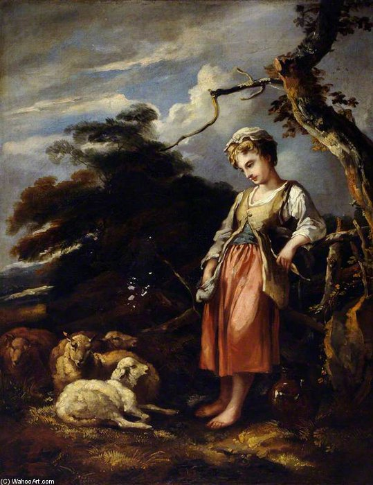 A Shepherdess And Sheep by Thomas Barker (1769-1847, United States)