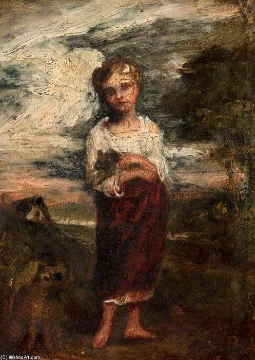Girl Standing In A Landscape Holding A Newborn Lamb by Thomas Barker (1769-1847, United States) | ArtsDot.com