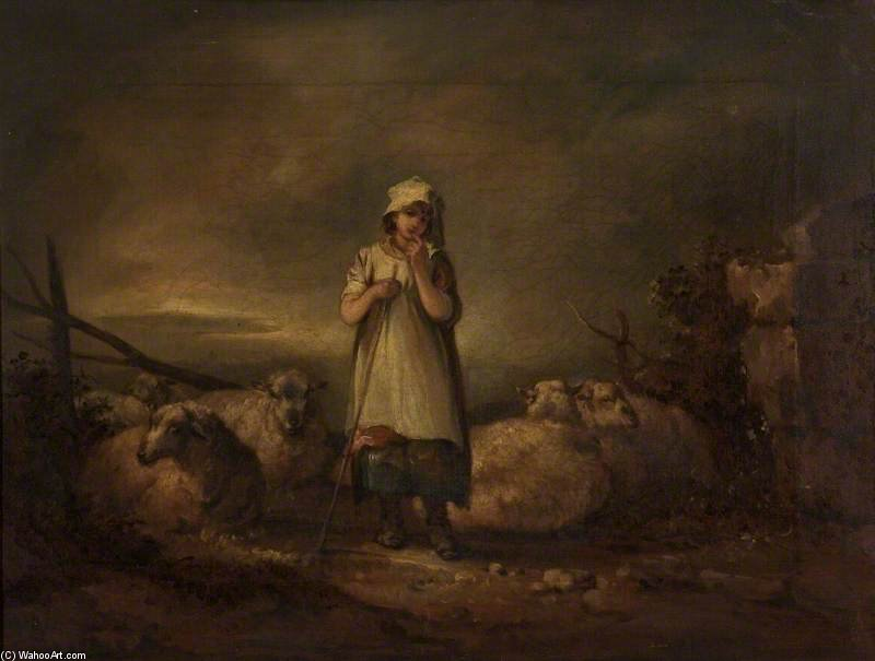 Gloucestershire Girl Keeping Sheep by Thomas Barker (1769-1847, United States)