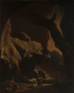 Thomas Barker - Interior Of A Large Cave With Figures And Animals