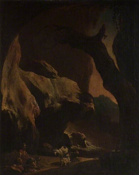 Interior Of A Large Cave With Figures And Animals by Thomas Barker (1769-1847, United Kingdom)